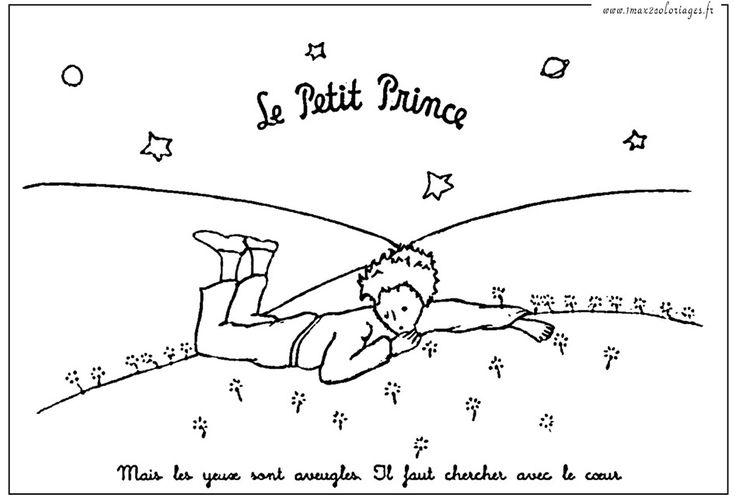 Coloriages Le Petit Prince sur l'herbe