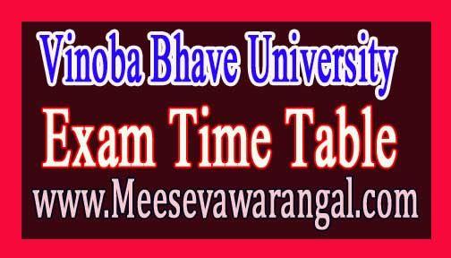 Vinoba Bhave University M.Phil In Chemistry Ist Sem 2015-16 Exam Time Table