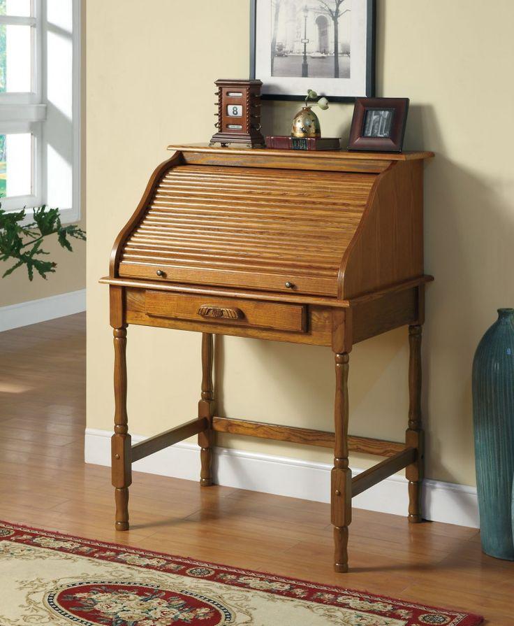 Coaster Roll Top Bedroom Home Office Secretary Desk, Oak Finish