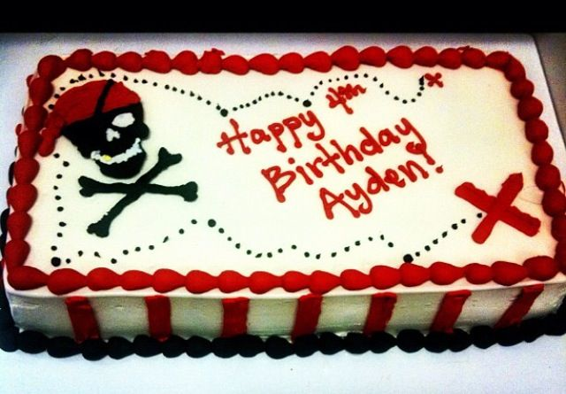 Simple pirate themed birthday ice cream cake.