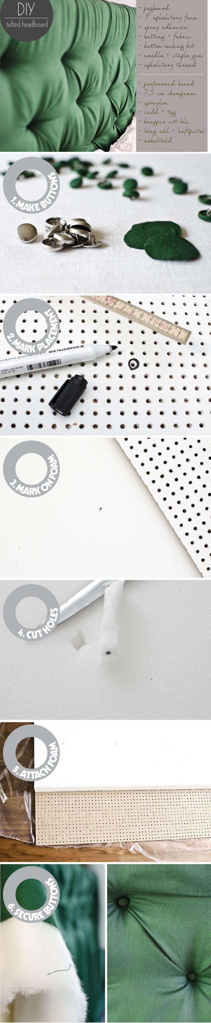 Gör en egen stoppad sänggavel med perforerad board, tyg, knappar och tålamod. På Husligheter.se får du hela beskrivningen!