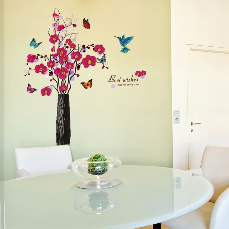 SHIJUEHEZI Retro Flowers Butterflies Wall Stickers for Living Room Decoration Elegant Chinese style Home Decor,High Quality butterfly wall stickers,China wall sticker Suppliers, Cheap stickers for from Jiaxing Wall Decor Store