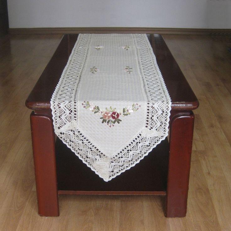 Хлопок / лён элегантный крючком кружево стол горячеканальная нежный вязка крючком цветочный кружево стол полотенце ткань крышка текстиль для дома декор