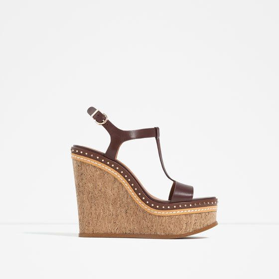 ZARA - NEW IN - MICRO-STUDDED LEATHER WEDGES