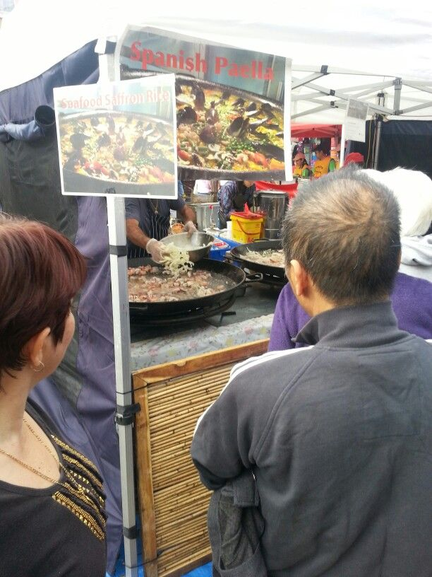 At the spanish stall where they were preparing huge pans of paella