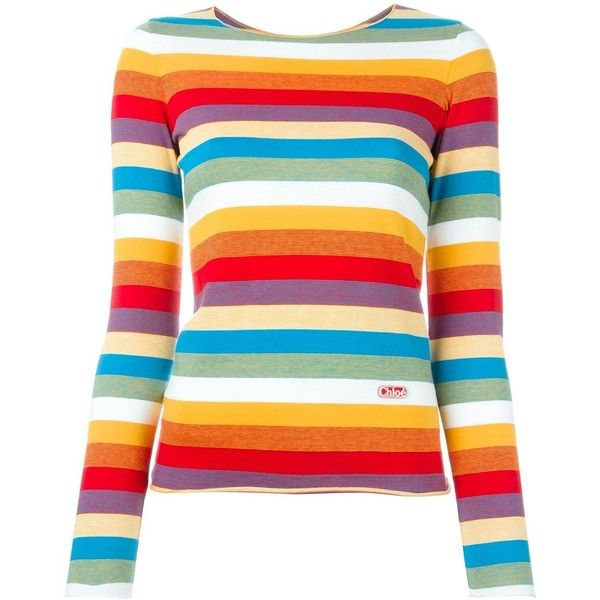 Chloé Rainbow T-Shirt ($302) ❤ liked on Polyvore featuring tops, t-shirts, multicolour, short sleeve tops, short sleeve tee, rainbow t shirt, chloe top and multi color tops