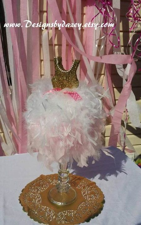 Tutu centerpiece feather centerpiece baby reveal by DesignsbyDazey
