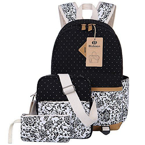 BLUBOON Canvas Backpack Girls School Bags Set for Teens…