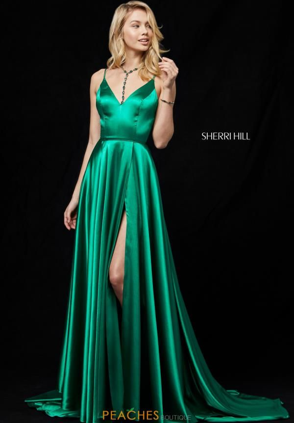 f45a2db79901 Sherri Hill Long A Line Dress in Emerald Green Satin Back train with a leg  slit up the side
