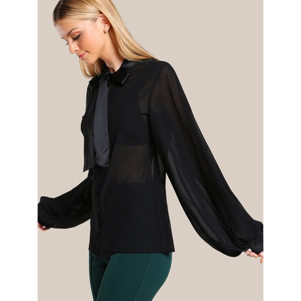SheIn(sheinside) Tie Neck Bishop Sleeve Blouse (30 BAM) via Polyvore featuring tops, blouses, sheer long sleeve shirt, tie neck blouse, sheer long sleeve blouse, banded collar shirts and chiffon blouses