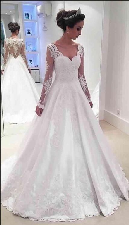 long sleeves wedding dress, 2017 wedding dress, white long wedding dress, bridal gown
