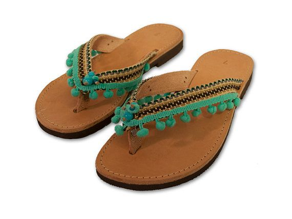 Pom Pom Sandals, Boho Sandals, Turquoise flip Flop, Bohemian flip flop, Decorated Leather Sandals, Greek Flip Flop, Indian shoes, ethnic