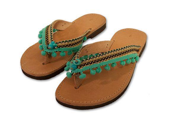 Pom Pom Sandals, Boho Sandals, Turquoise flip Flop, Bohemian flip flop, Decorated Leather Sandals, Greek Flip Flop, Indian shoes, ethnic