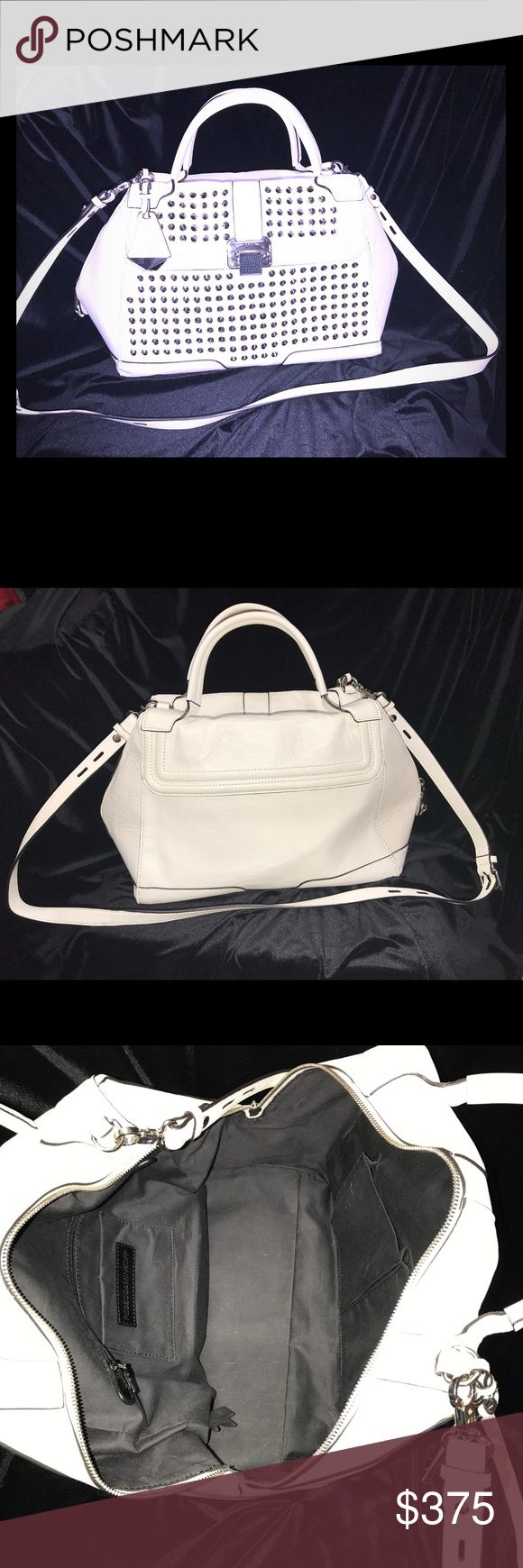 Rebecca Minkoff Studded Elle Bag in White Beautiful Rebecca Minkoff White Studded Elle Satchel.  New, without tags, never been used, white leather with silver studs.  Pristine condition!  Stored in dust bag. Rebecca Minkoff Bags Satchels