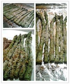 Parmesan crusted Asparagus with Garlic salt and parsley...I love asparagus and usually wrap mine in bacon then pop them in the oven. Gotta try this recipe.