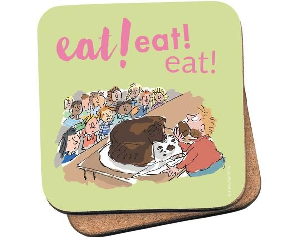 This green coaster features the memorable scene in Matilda in which Miss Trunchbull forces Bruce Bogtrotter to eat an entire chocolate cake as a punishment, whi