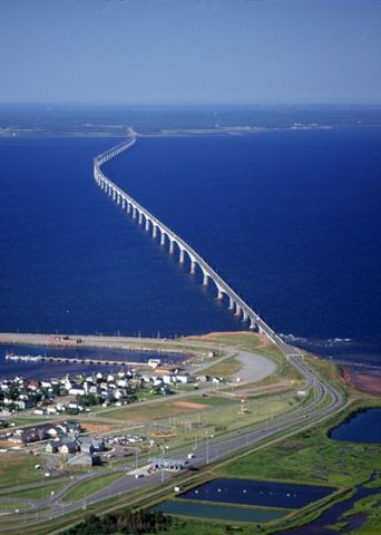 8 mile long Confederation Bridge which connects Prince Edward Island to New Brunswick, Canada.