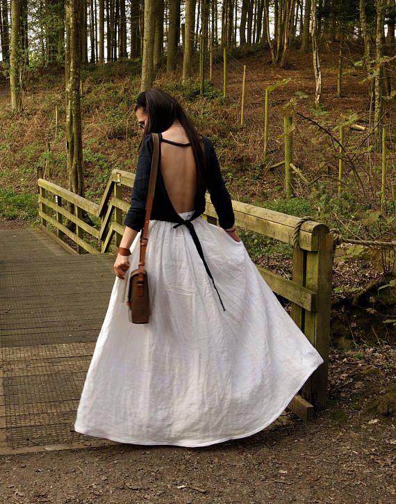 Wide Linen Skirt Cream White Skirt Handmade Natural Fabric