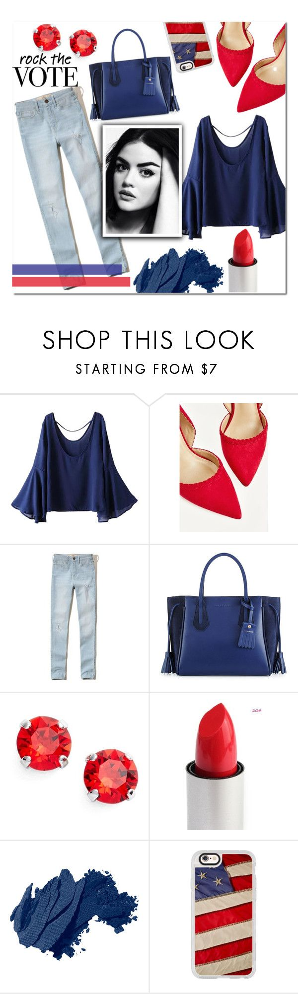"""""""Rock The Vote"""" by gingembre ❤ liked on Polyvore featuring WithChic, Hollister Co., Longchamp, L. Erickson, Bobbi Brown Cosmetics and Casetify"""