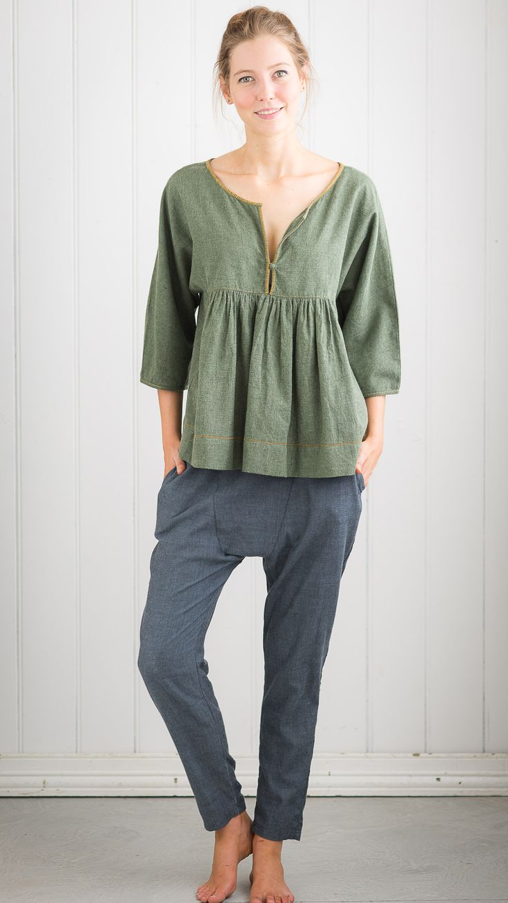 Tyra top in Green with Krista pant in Blue