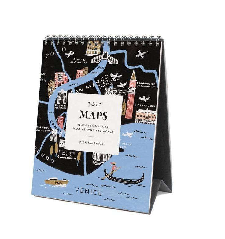 Travel gift ideas from Not on the High Street - get your favourite travel lover a beautiful desk calendar of maps for Christmas.