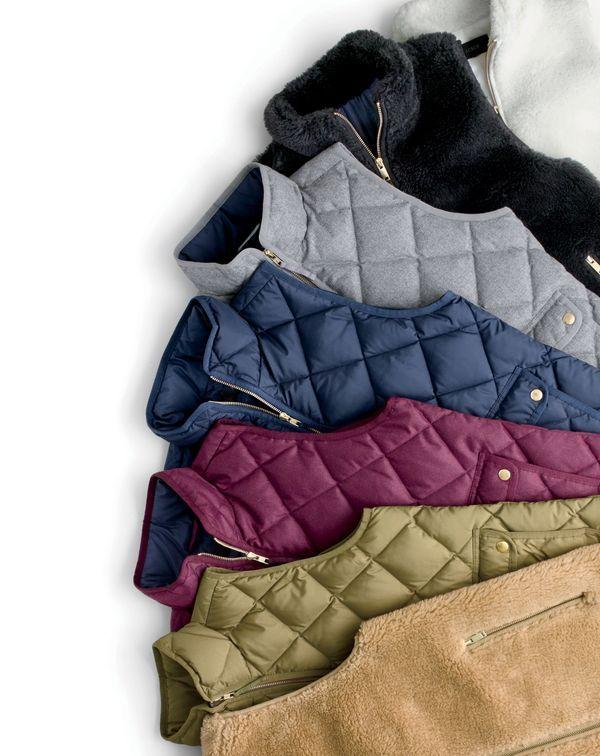 J.Crew women's plush fleece excursion vest, excursion quilted vest in flannel and excursion quilted down vest.