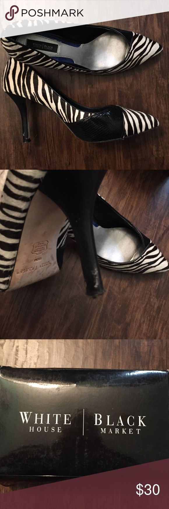 Zebra shoes White House black house black/zebra shoes. The heel needs a little repair. See pic. White House Black Market Shoes Heels