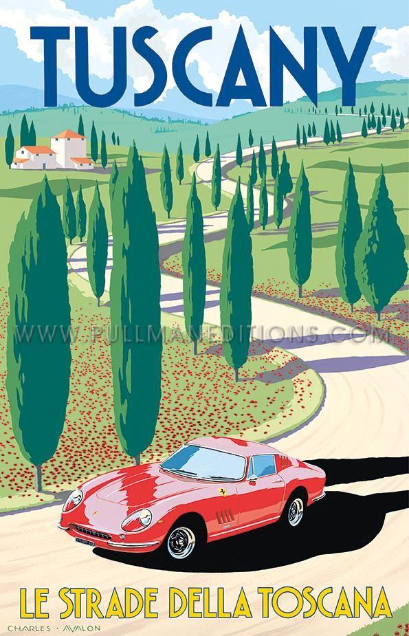 Ferrari 275 GTB/4 – Tuscany ART DECO AUTOUR DU MONDE Artist: Charles Avalon.