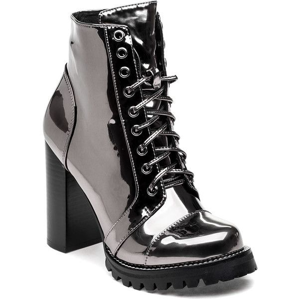 JEFFREY CAMPBELL Legion Pewter Mirrored Boot ($165) ❤ liked on Polyvore featuring shoes, boots, pewter leather, lace up shoes, mirror shoes, lace front boots, mirrored shoes and jeffrey campbell boots