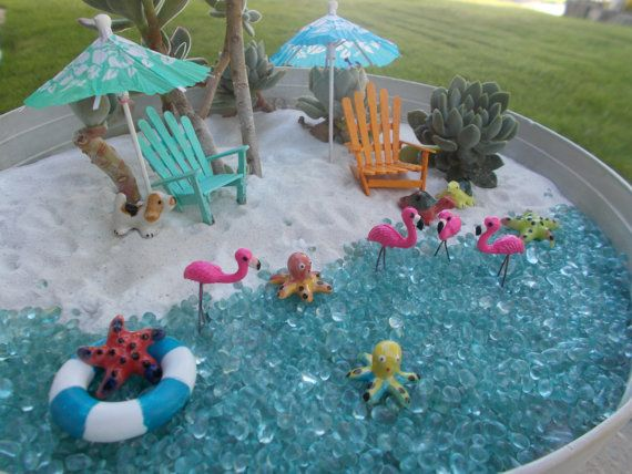 Miniature Flamingos Fairy Garden Cake Topper by FairyElements