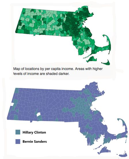 Massachusetts democratic primary results versus per capita income.
