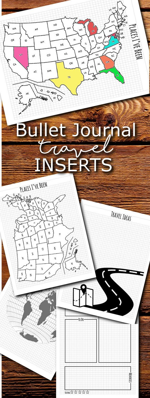 Bullet Journal Travel inserts in 4 sizes. Full letter, half letter, Happy planner/ Erin condren, and Recollections.