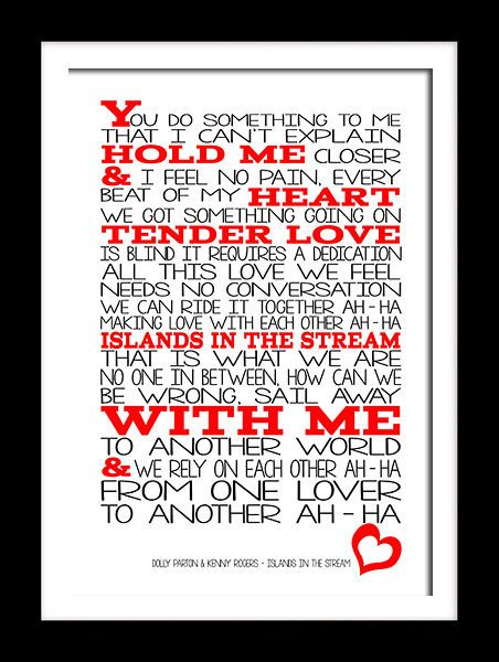 Dolly Parton & Kenny rogers Islands in a stream lyric wall art canvas and prints.