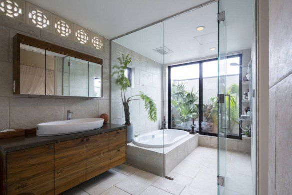 decoration-zen-bathroom-green-plants-wood-furniture-vanity-indirect-lighting