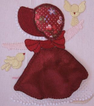 BES385_SINGLE: Country Sunbonnet2 Country Sunbonnet done in pretty satin and matching 'granny print'.  Bring her to 'life' using our 'stump work' method.  She is so pretty and perfect for all those special projects.  Country Sunbonnet is really fun to make ;) http://tinyurl.com/zsoqj4u