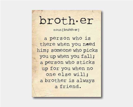 Family Wall Art - A brother is a person - Brother Quote Inspiration Typography Art Print - 8 x 10 print on vintage paper or chalkboard