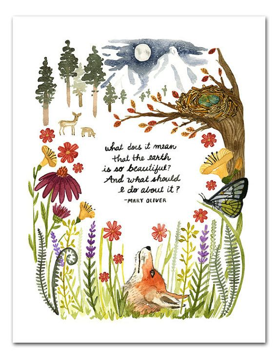 Mary Oliver Quote Watercolor Art Print, Nature Wall Art, Hand Lettering Inspirational Quote, Fox Nursery Art, Wildlife, Wild flowers