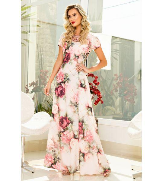 0c749f975 Vestido Longo Estampado Moda Evangelica Zunna Ribeiro - ZR6351 - Soberana  Evangélica