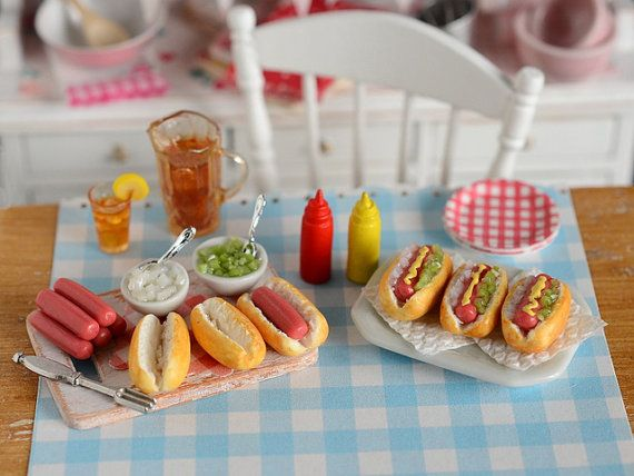 Miniature Hot Dog Prep Set by CuteinMiniature on Etsy