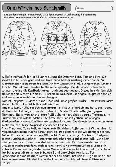 """Ideenreise: Kleiner Mitdenktext """"Omas Strickpullis"""""""