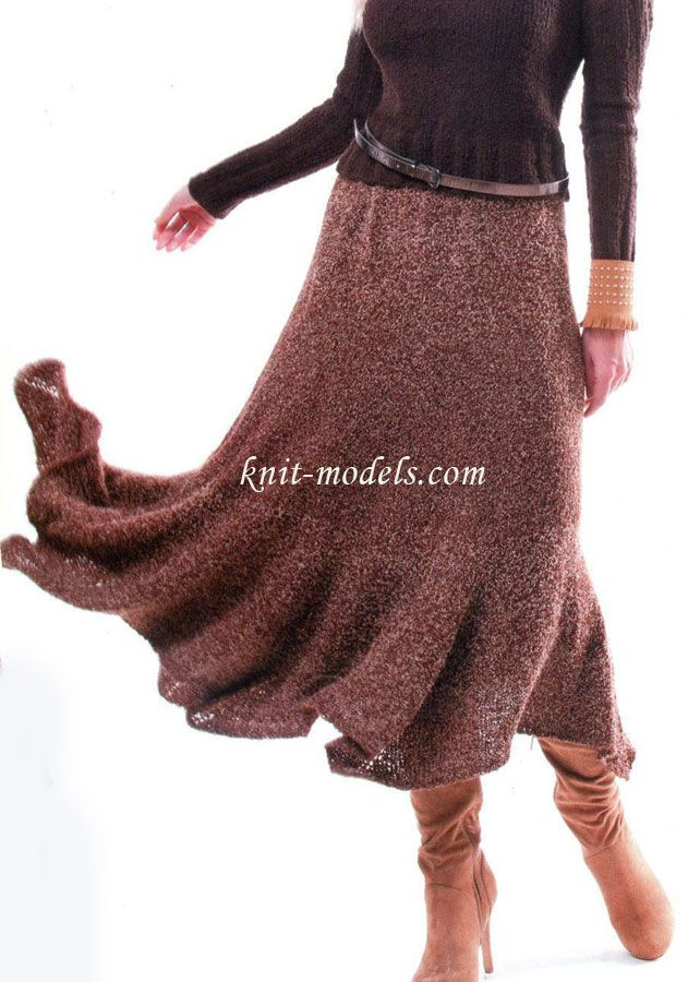 Расклешенная юбка вязаная спицами