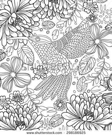 hand drawn bird coloring page stock vector