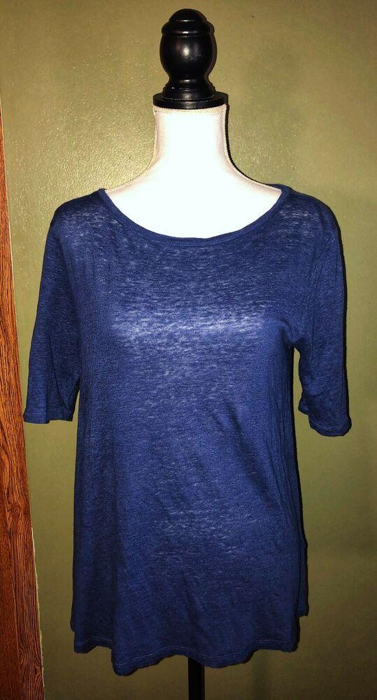 d3949680 Boden Womens Short Sleeve 100% Linen Basic T Shirt Blue Size 10 | eBay