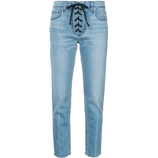 A.L.C. lace-up detail skinny jeans (£275) ❤ liked on Polyvore featuring jeans, pants, blue, lace up jeans, blue jeans, skinny leg jeans, cut skinny jeans and skinny fit jeans