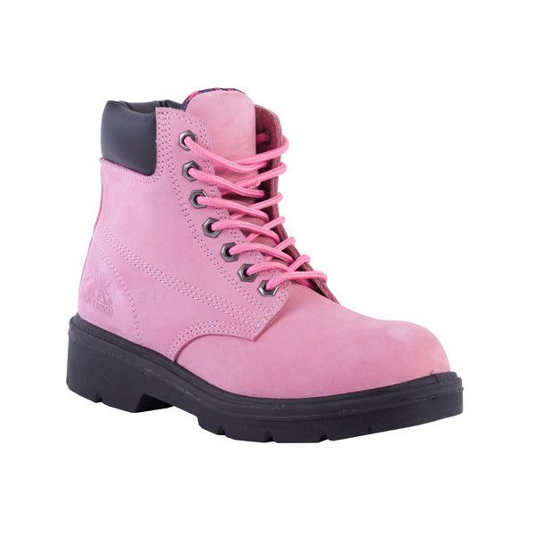 Women's Moxie Trades Alice Steel Toe Work Boot ($100) ❤ liked on Polyvore featuring shoes, boots, pink, steel toe boots, waterproof steel toe boots, lace up boots, steel toe shoes, oil resistant work boots and water proof boots