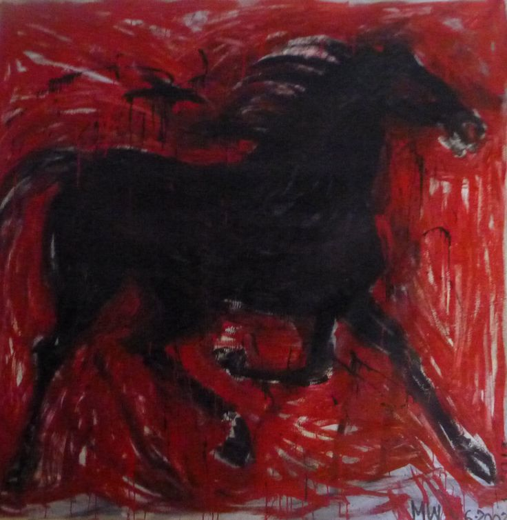 """""""Black Horse"""" by Melora Walters $6,100 72 x 72 inches oil on canvas"""