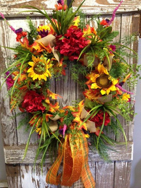Fall Door Wreath by BackyardGardenNC on Etsy,