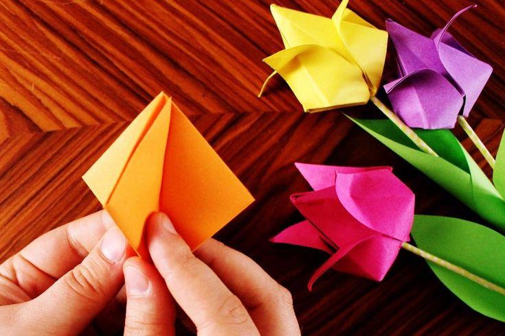 kunterbunte Origami Tulpen und das neue Kreativ durch den Monat Challenge Thema {DIY}