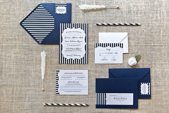 MODERN STRIPE INVITATION  Bold Modern Navy by JessicaBishopPaperie,  -- pretty in a gray