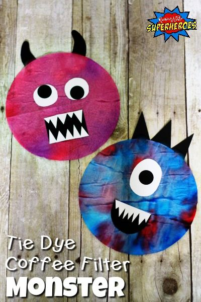how to make a tie dye coffee filter monster for halloween - Halloween Art For Kindergarten
